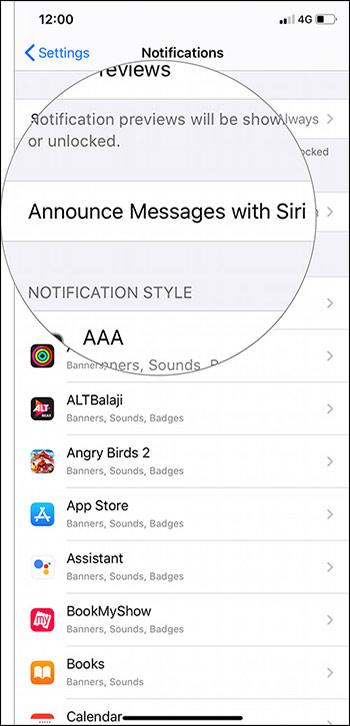 Thông báo tin nhắn với Siri