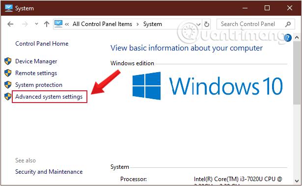 Chọn Advanced System Settings trên cửa sổ System
