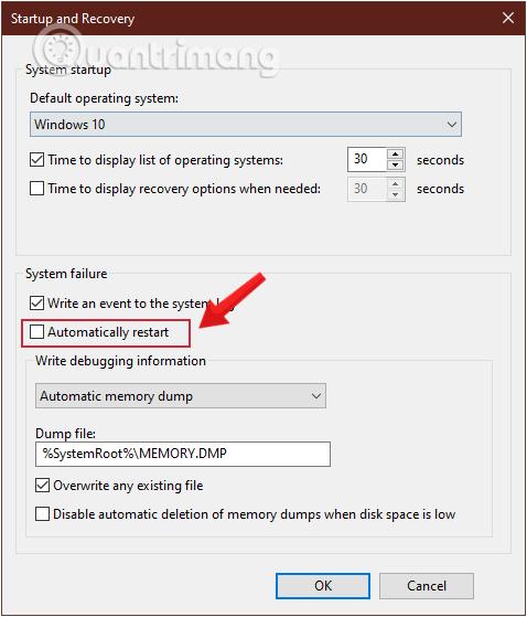Bỏ tích mục Automatically restart
