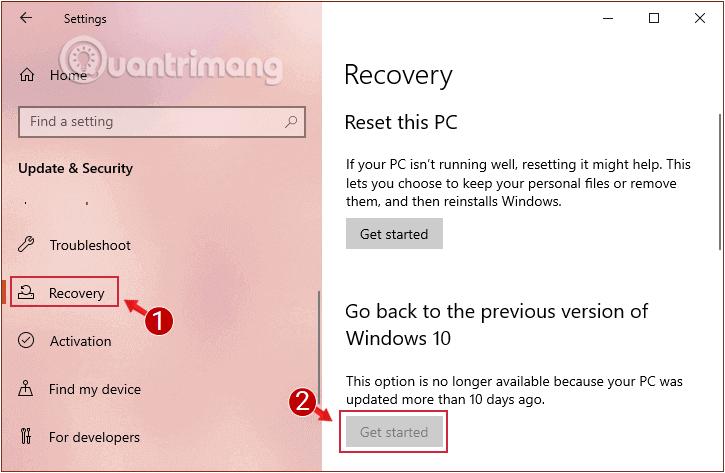 Quay trở lại hệ điều hành phiên bản trước