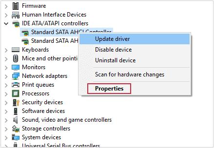 Kích chuột phải vào Standard SATA AHCI Controller chọn Properties