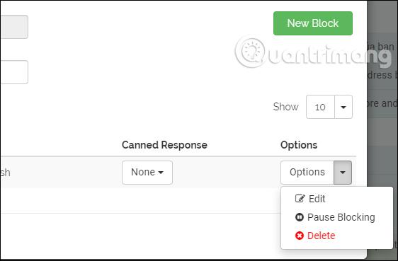 Tùy chọn email bị chặn