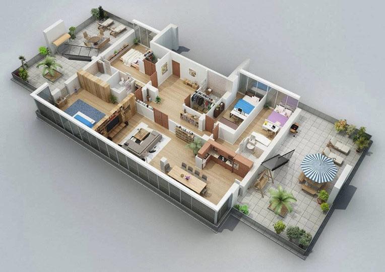 Bản vẽ mẫu nhà vườn cấp 4 mái thái 4 phòng ngủ hiện đại