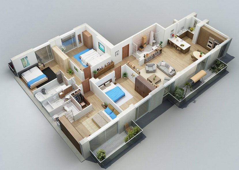 Bản vẽ mẫu nhà cấp 4 mái thái chữ L 4 phòng ngủ