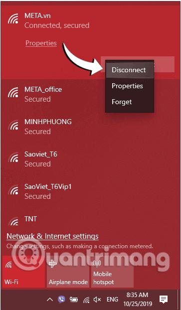 Click chọn Forget để quên/xóa mạng WiFi đã từng kết nối