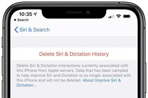 Xoá lịch sử ghi âm của Siri