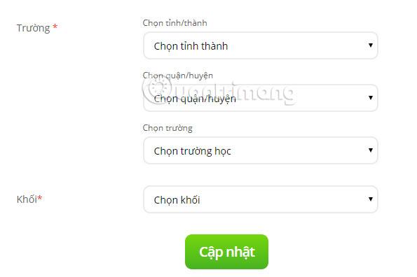 Chọn khối học Trạng Nguyên Tiếng Việt