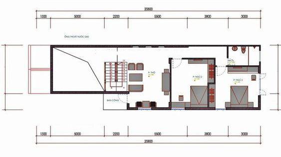 Mặt bằng tầng lửng nhà cấp 4 có gác lửng 3 phòng ngủ 5x20m