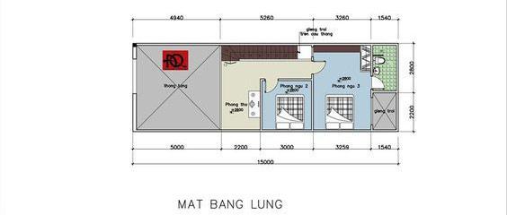 Mặt bằng công năng tầng lửng nhà cấp 4 có gác lửng trên diện tích 5×15m