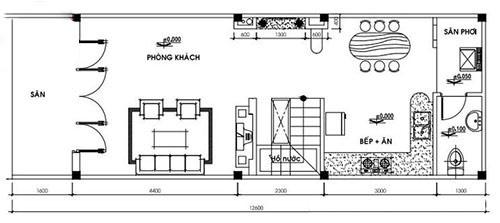 Mặt bằng công năng tầng trệt nhà cấp 4 có gác lửng 4x12m