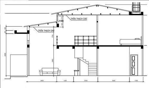Mặt bằng công năng tầng lửng nhà cấp 4 có gác lửng 4x12m
