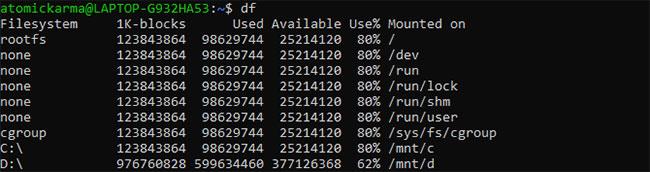 Hiển thị việc sử dụng ổ đĩa với lệnh df