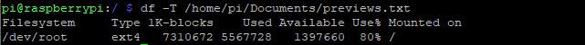 Sử dụng lệnh df để hiển thị hệ thống file