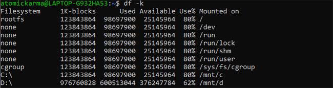 Hiển thị kết quả df tính bằng KB, MB và GB