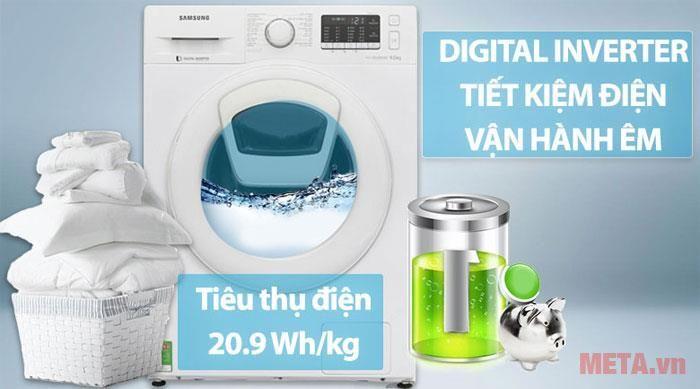 máy giặt cửa ngang samsung 9kg ww90k54e0uw-sv