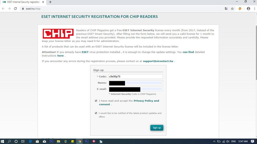 """Điền mã """"c9e96p76"""", nhập tên và email"""