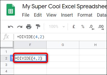 Cách chia số trong Google Sheets