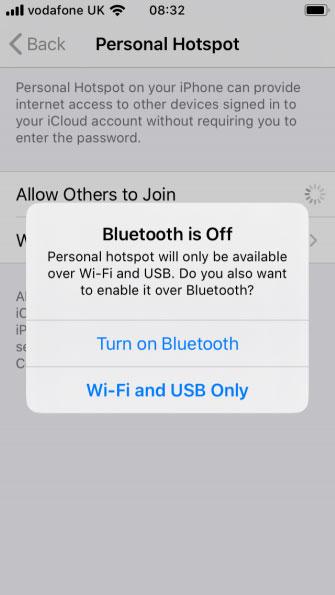 Bạn sẽ thấy một thông báo với nội dung Bluetooth is Off