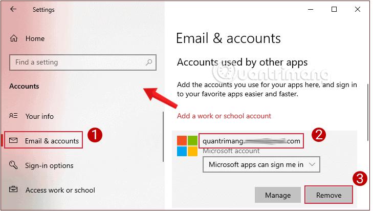 Chọn tài khoản Microsoft mà bạn muốn xóa trong Email and app accounts