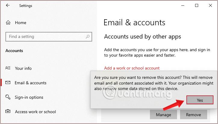 Click chọn Yes ở thông báo hiện lên để xác nhận xóa account Microsoft
