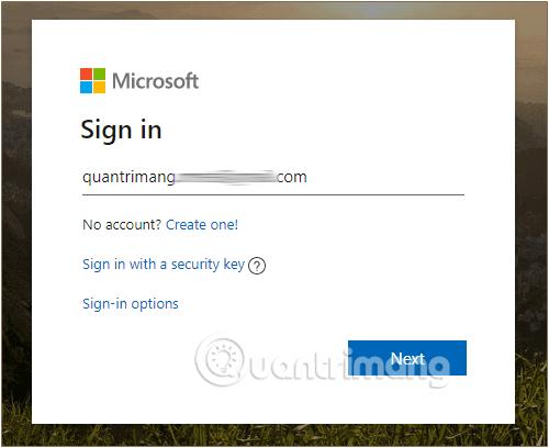 Nhập tài khoản Microsoft