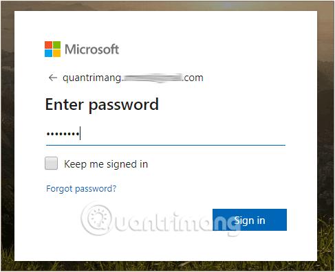 Nhập mật khẩu tài khoản Microsoft