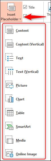 Chọn một trong các tùy chọn từ menu Insert Placeholder