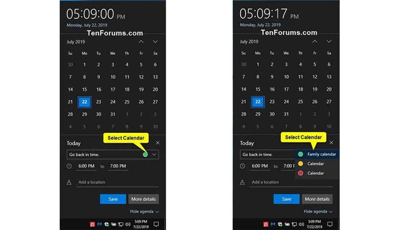 Hỗ trợ nhanh sự kiện nhanh trong Calendar từ Taskbar