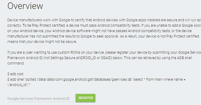 """Đăng ký thiết bị: Sửa lỗi """"Device Is Not Registered With Google"""""""