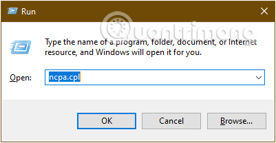 Gõ lệnh ncpa.cpl trong cửa sổ lệnh Run rồi nhấn OK