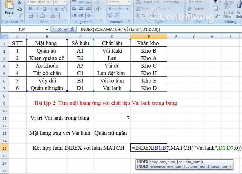 Kết hợp hàm INDEX và MATCH
