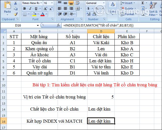 Kết quả cho hàm INDEX với hàm MATCH