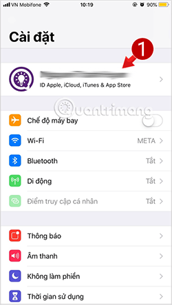 Tap the Apple ID account name in iPhone settings