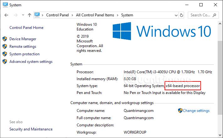 Xem thông tin CPU ở System type