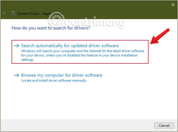 Cách sửa lỗi máy tính không nhận iPhone trong iTunes Yêu cầu Windows tìm driver bằng cách click chọn Search automatically for updated driver software