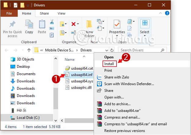 Cách sửa lỗi máy tính không nhận iPhone trong iTunes Install file usbaapl64.inf