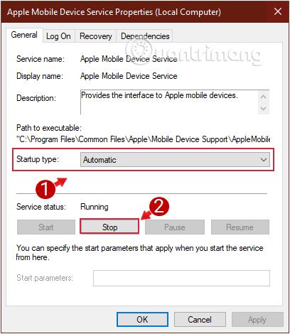 Cách sửa lỗi máy tính không nhận iPhone trong iTunes Kiểm tra Startup type và Service status