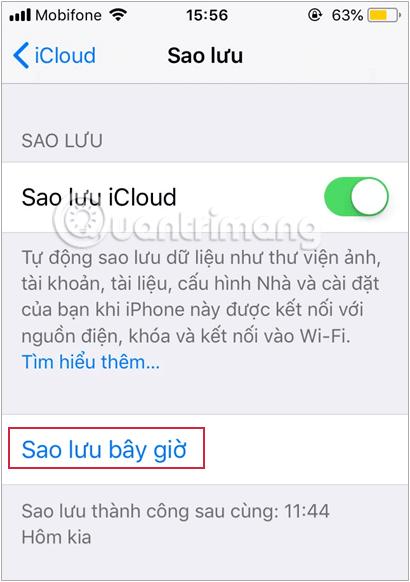 Sao lưu dữ liệu từ iPhone cũ lên iCloud