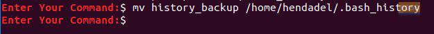 Sử dụng lệnh mv để di chuyển file sao lưu lịch sử đến thư mục Home