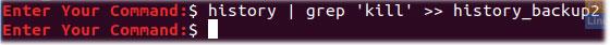 """Sử dụng các lệnh history và grep, cùng với biểu tượng """">>"""""""