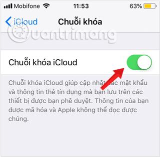 Bật Chuỗi khóa Keychain trong iCloud