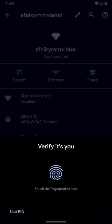 Xác nhận thao tác bằng cách nhập mật khẩu hoặc vân tay, nhận dạng mặt