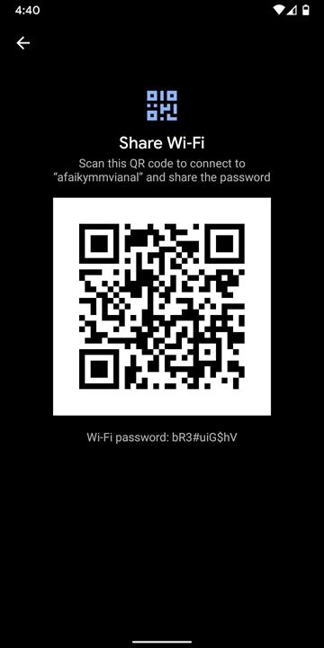Mã QR hiển thị mật khẩu WiFi đã lưu