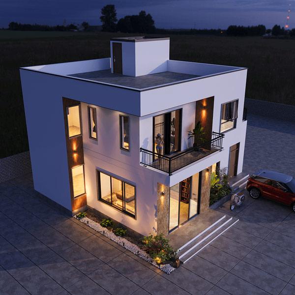 Mẫu biệt thự mini 2 tầng mái bằng hiện đại 2