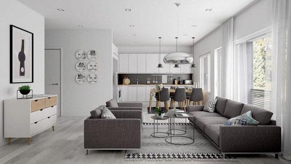 Thiết kế phòng khách liên thông với phòng bếp