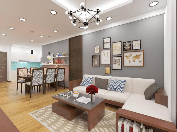Màu sắc thiết kế phòng khách và bếp thông nhau nên đồng bộ, hài hòa và thống nhất
