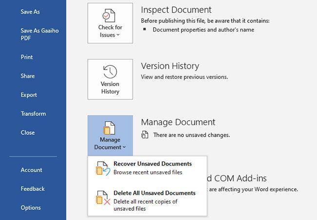 Khôi phục hồi tài liệu Microsoft Office 2019 thủ công