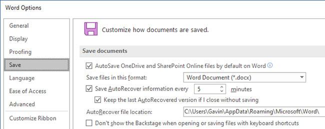 Tùy chỉnh cài đặt AutoRecover trên Microsoft Office 2019