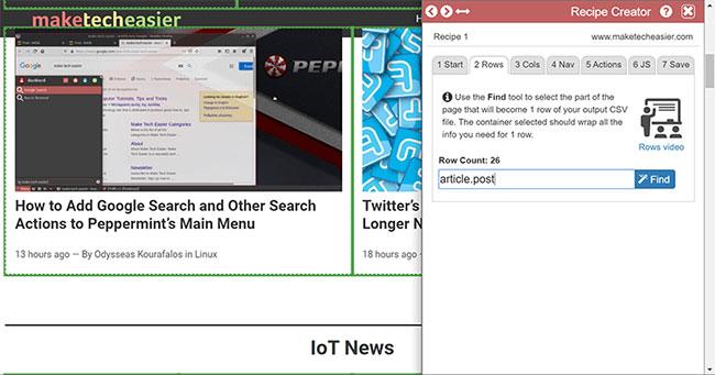 "Data Miner cung cấp tùy chọn ""View Element's HTML"""