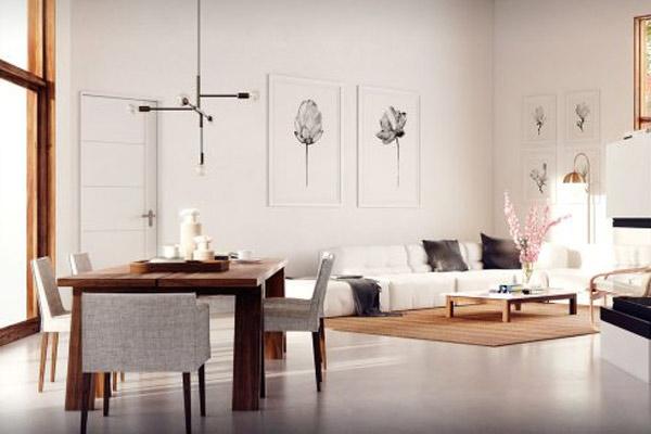 Phòng khách chung cư theo phong cách tối giản 6